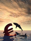 Euro symbol  sinking — Stock Photo