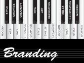 Branding text piano keys — Stock Photo