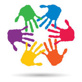 Colorful painted human hands — Stock Photo