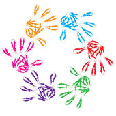 Colorful  hand print circle — Stock Photo