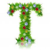 Holiday green fir tree font — Stok fotoğraf