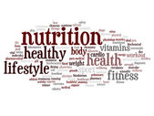 Health and nutrition word cloud — Stock Photo