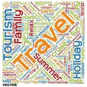 Conceptual tourism word cloud — Stock Vector