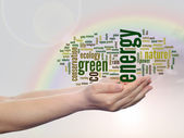 Green energy conservation word cloud — Stock Photo