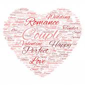 Red love or Valentines Day word cloud text — Stock Photo