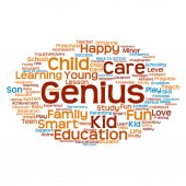 Orange child education abstract word cloud — Stock Photo