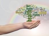 Health word cloud man hand — Stock Photo