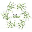 Green ecology hand print symbol — Stock Photo #75396579