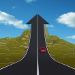 Red car on arrow road pointing up — Stock Photo #75396745