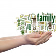 Family education abstract word cloud, human man hand — Stock Photo #75396843