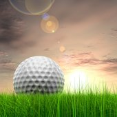 Grass with  golf ball at horizon — Stockfoto