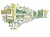 Abstract 3D fitness and health word cloud or wordcloud — Stock Photo