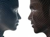 3d Drahtgitter menschlicher männlich oder weiblich-Kopf — Stockfoto