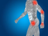 Muž anatomie nebo zdraví design, společné nebo kloubní bolesti — Stock fotografie