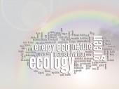 Streszczenie zielonej ekologii i ochrony chmura tekstowy word — Zdjęcie stockowe