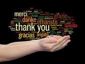Thank you word cloud held in hands — Stock Photo
