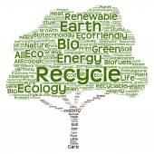 Trädet består av ekologi, återvinna eller energi text som wordcloud — Stockfoto