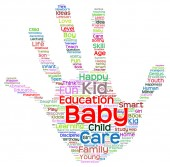 Child education abstract hand print word cloud — Stock Photo