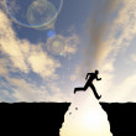 Businessman silhouette jumping — Stock Photo #76347035