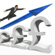 Businessman jumping over  pound symbol — Stock Photo #76347647