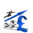 Businessman jumping over an pound symbol — Stock Photo #76348771