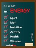 Energy  to do list on blackboard — Vector de stock