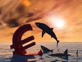 Conceptuele bloedige eurosymbool — Stockfoto