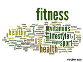 Conceptual fitness health word cloud — Stock Vector