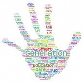 Education abstract hand print word cloud — Stock Photo