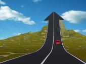 Automobile sulla strada di freccia rivolta verso l'alto — Foto Stock