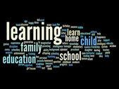 教育や家族の抽象的な単語の雲 — ストック写真