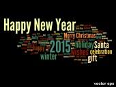 Conceptual Happy New Year word cloud — Stock Vector
