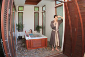 Honeymoon. Newlyweds in hotel in a jacuzzi — Stockfoto