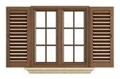 Wooden window on white — Stock Photo