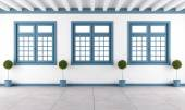White and blue empty room — Stock Photo