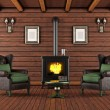 Wooden house with cast iron fireplace — Stock Photo #71949339
