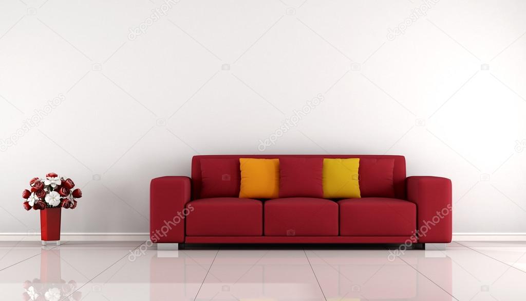 Salone minimalista con il sofà rosso — Foto Stock © archideaphoto ...