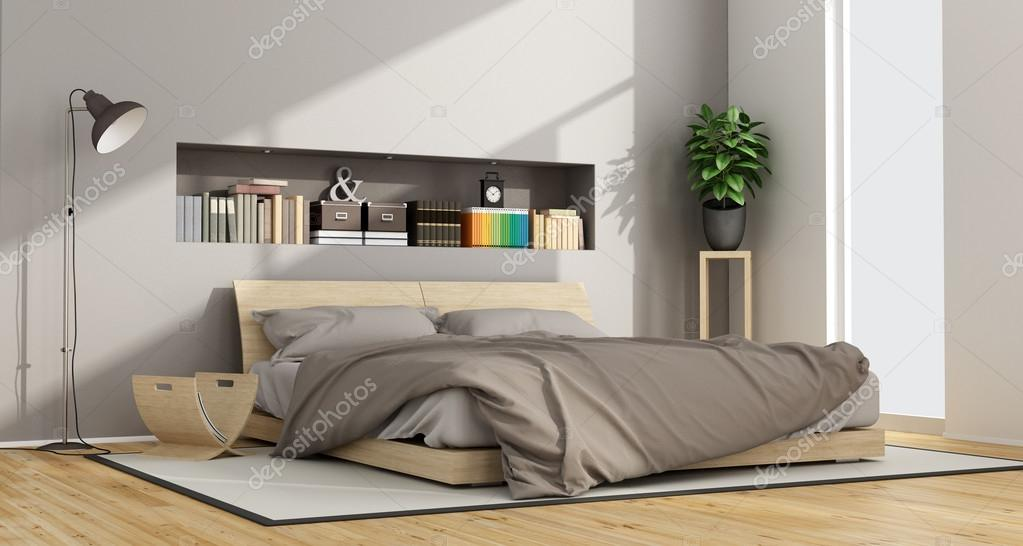 Luminosa camera da letto contemporanea foto stock for 2 piani camera da letto ranch