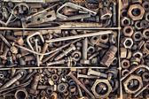 Satz von alten Verbindungselementen im Vintage-Stil als Hintergrund — Stockfoto
