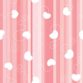 Pink flat striped seamless background with white laced hearts — Vettoriale Stock