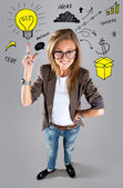 Business woman pointing showing and looking to the side up at em — Stock Photo