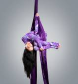 Beautiful dancer on aerial silk, aerial contortion, aerial ribbo — Stock Photo