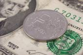 Currency exchange. Russian ruble coin lies on a banknote two dollars US — ストック写真
