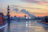 Russia. Moscow. View from the Patriarch bridge on the river panorama of Moscow. — Stok fotoğraf
