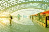 Beijing capital international airport passenger train and touris — Stock fotografie