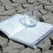 A book and a cup in the dry land — Stock Photo #66114125