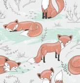 Cute seamless pattern with little foxes. — Stock Vector