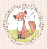 Cute little fox illustration for children — ストックベクタ