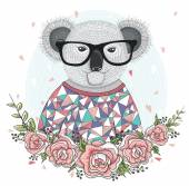 Cute hipster koala with glasses and flower frame. — Stock Vector
