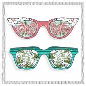 Vintage sunglasses with cute floral print for him and her.  — Vector de stock